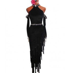 Women's black velvet fringes latin dance dresses rhinestones salsa chacha rumba dance dress