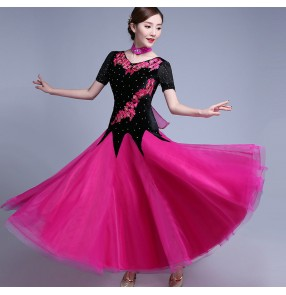 Women's black velvet with hot pink ballroom dancing dress waltz tango dance dresses