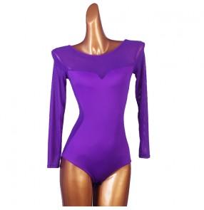 Women's black violet latin dance bodysuits ballroom salsa chacha dance tops jumpsuits