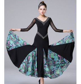Women's black with floral diamond competition ballroom dance dresses professional stage performance ballroom dance skirts waltz tango dance dresses