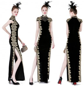 Women's black with gold lace embroidered pattern side split chinese dress traditional qipao cheongsam stage performance dress