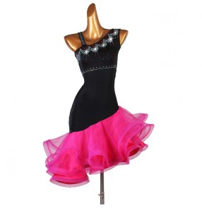 Women's black with hot pink ruffles skirts latin dance dresses modern dance salsa rumba chacha dance costumes