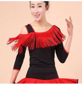 Women's black with red fringes one inclined shoulder latin salsa rumba chacha dance tops shirts