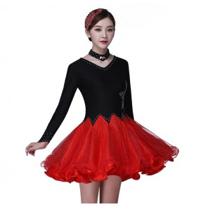 Women's black with red girls practice competition stage performance latin rumba samba dance dresses