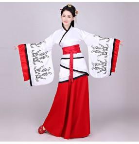Women's black with red Hanfu chinese dresses ancient traditional princess dress korean japanese kimono dress fairy drama cosplay dresses