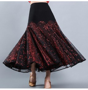 Women's black with red lace ballroom dancing skirt stage performance waltz tango dance skirts