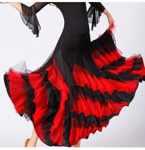 Women's black with red ruffles flamenco skirts ballroom dancing skirts stage performance waltz tango skirts