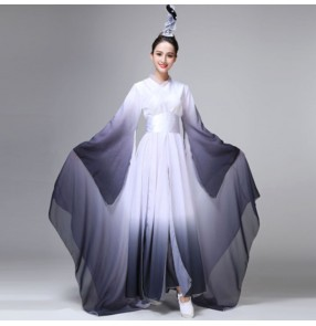 Women 's black with white gradient colored chinese hanfu water sleeves tradiional classical dance dress fairy drama cosplay dresses