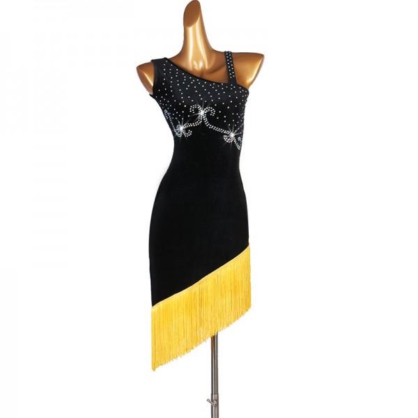 Women\u0027s black with yellow fringes latin dance dresses salsa rumba chacha  dance costumes dresses