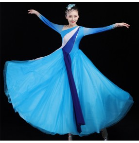 Women's blue color modern dance choir stage performance dress singers group dancers stage performing long dresses