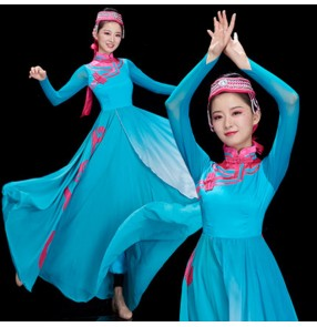 Women's blue color mongolian dance dress stage performance mongolia drummer performing robes dresses