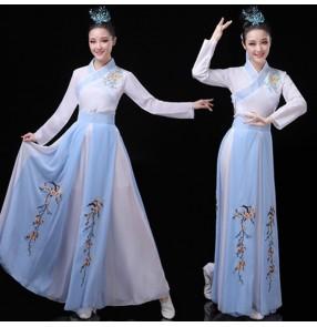 Women's blue colored hanfu chinese folk dance dress ancient traditional fairy dress anime drama korean japan kimono cosplay dress