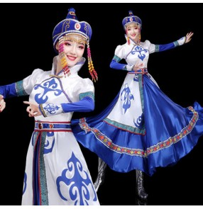 Women's blue colored mongolian dresses stage performance chinese folk dance robes mongolia stage performance dresses