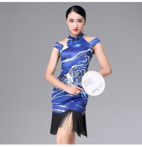 Women's blue floral latin dresses for female lady cheongsam stage performance competition salsa rumba cahcha dance costumes