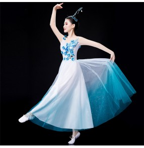Women's blue gradient chinese folk dance costumes fairy traditonal yangko fan dance dress