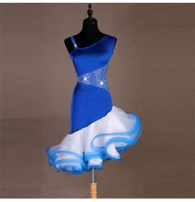 Women's blue latin dance dresses rhinestones ruffles skirts professional ballroom rumba chacha salsa chacha dance skirts costumes dress