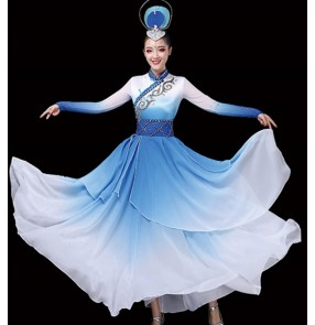 Women's blue mongolian dance costumes national Mongolia robes dresses