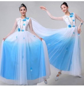 Women's blue with white  modern dance dresses opening dance choir chorus stage performance dress costumes