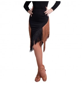 Women's chacha salsa rumba samba latin dance skirts black with brown tassels competition professional dance skirts