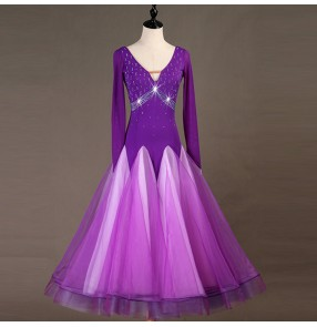 Women's children ballroom dance dresses violet rhinestones competition female stage performance waltz tango dance skirt dress