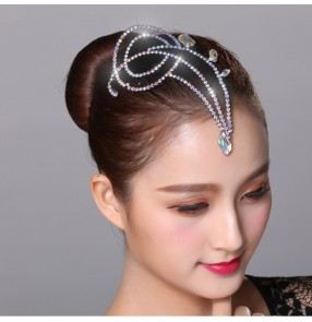 Women's children ballroom latin dance diamond headdress competition stage performance head accessories for girls kids