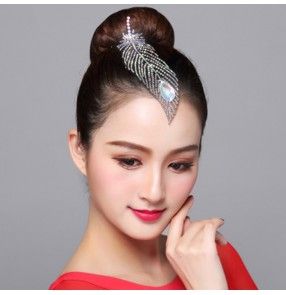 Women's children competition professional ballroom latin samba chacha rhinestones headdress hair accessories for girls kids