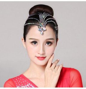 Women's children girls ballroom latin competition headdress rhinestones professional dance hair accessories for kids children