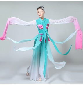 Women's china folk dance dresses turquoise gradient color fairy ancient traditional drama hanfu Japanese kimono classical dancing stage performance competition costumes