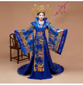 Women's chinese ancient traditional classical Empress dresses princess tang dynasty palace stage performance robes costumes