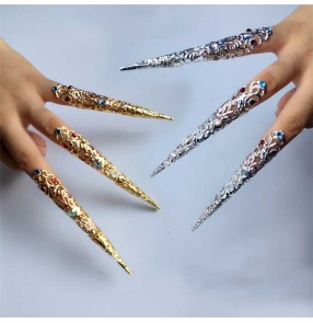 Women's chinese ancient traditional qing drama empress cosplay metal false long nail fake nail protector 3pieces