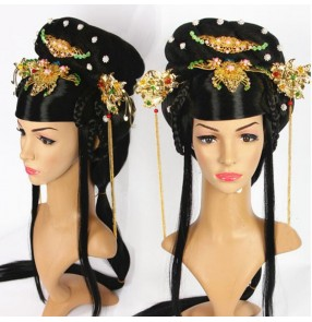 Women's chinese ancient traditional tang dyansty empress princess wig anime drama fairy cosplay wig with headdress