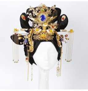 Women's chinese ancient traditional tang Empress wig fairy queen movies film Photograghy cosplay wig with headdress