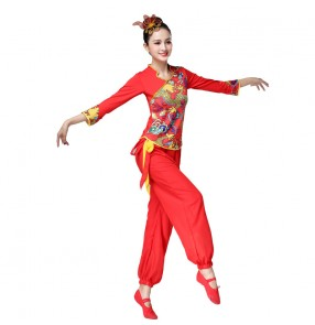 Women's chinese dragon folk dance costumes red color china traditional yangko umbrella fan drmmer dance costumes for female