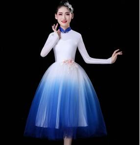 Women's chinese dresses modern dance dresses oriental stage performance choir chorus performance dresses