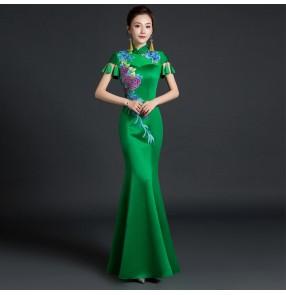 Women's chinese dresses oriental China fringes qipao dress show photos mermaid dress