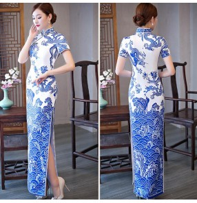 Women's Chinese dresses  white and blue oriental dragon qipao dresses traditional cheongsam dresses