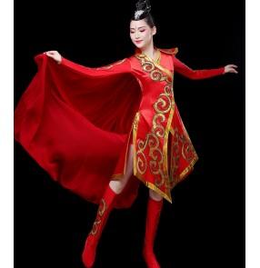 Women's chinese drummer performance dress chines folk dance costumes yangko fan umbrella dance dresses