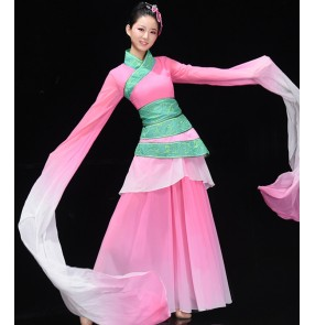 Women's chinese fairy pink colored hanfu dresses water sleeves drama princess cosplay dress ancient traditional classical dance dresses