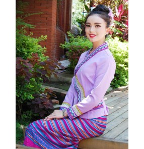 Women's Chinese folk costumes Yi traditional Thailand party holiday celebration photos stage performance work uniforms drama cosplay dresses