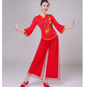 Women's chinese folk dance clothes ancient traditional classical yangko umbrella dance clothing red colored drummer group dance clothes
