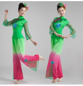 Women's Chinese folk dance costumes ancient traditional classical dance yangko fan umbrella dance dresses with head piece