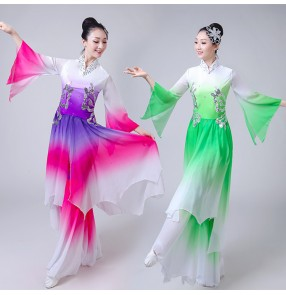 Women's chinese folk dance costumes ancient traditional classical oriental butterfly dance dresses violet green colored yangko fan dance dresses