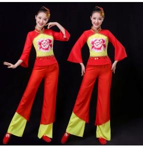 Women's chinese folk dance costumes ancient traditional yangko drummer fan umbrella dance dresses costumes