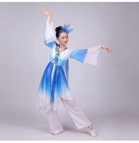 Women's chinese folk dance costumes ancient traditional yangko fan square dance stage performance cosplay clothes