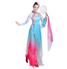 Women's chinese folk dance costumes blue with pink fairy hanfu yangko umbrella dance costumes traditional classical dance dresses
