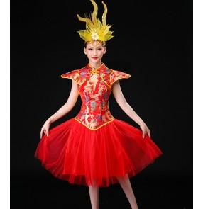 Women's chinese folk dance costumes dragon drummer performance dresses yangko traditional fance dance dresses