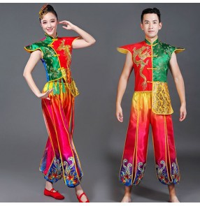Women's chinese folk dance costumes dress for women male ancient traditional dragon style drummer yangko stage performance tops and pants