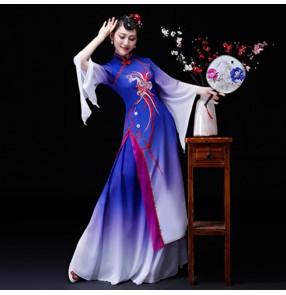 Women's chinese folk dance costumes fairy cosplay traditional china classical yangko fan dance dress costumes