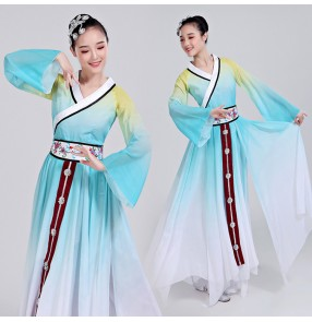 Women's chinese folk dance costumes for female classical ancient traditional yangko fairy stage performance dresses