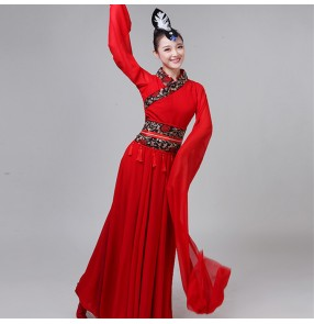 Women's chinese folk dance costumes for female girls fairy traditional classical dance water fall sleeves anime fairy cosplay dresses